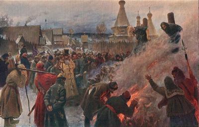 Christians burning Christians by Myasoyedov